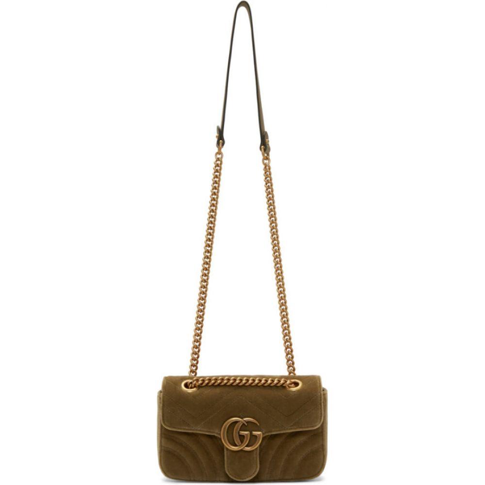 グッチ Gucci レディース ショルダーバッグ バッグ【tan velvet mini gg marmont 2.0 bag】