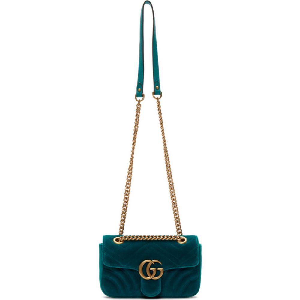 グッチ Gucci レディース ショルダーバッグ バッグ【blue mini velvet marmont 2.0 bag】