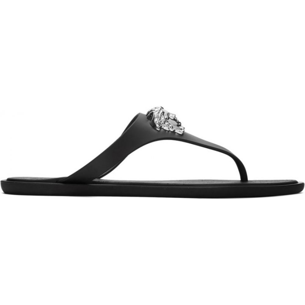 ヴェルサーチ Versace レディース サンダル・ミュール メデューサ シューズ・靴【black medusa palazzo thong sandals】Black