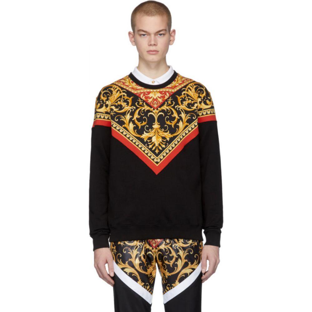 ヴェルサーチ Versace メンズ スウェット・トレーナー トップス【black barocco print sweatshirt】Black/Gold