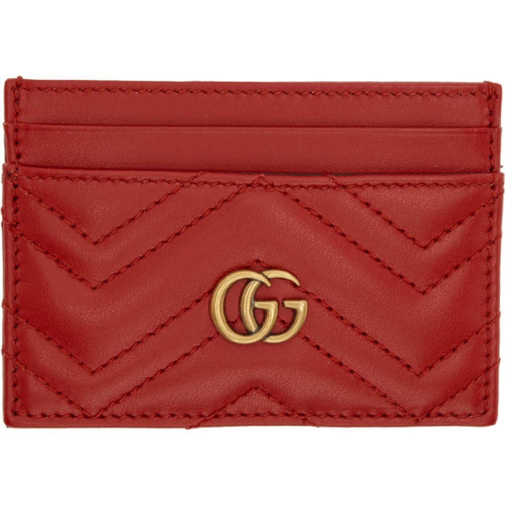 グッチ Gucci レディース カードケース・名刺入れ カードホルダー【red gg marmont card holder】Red