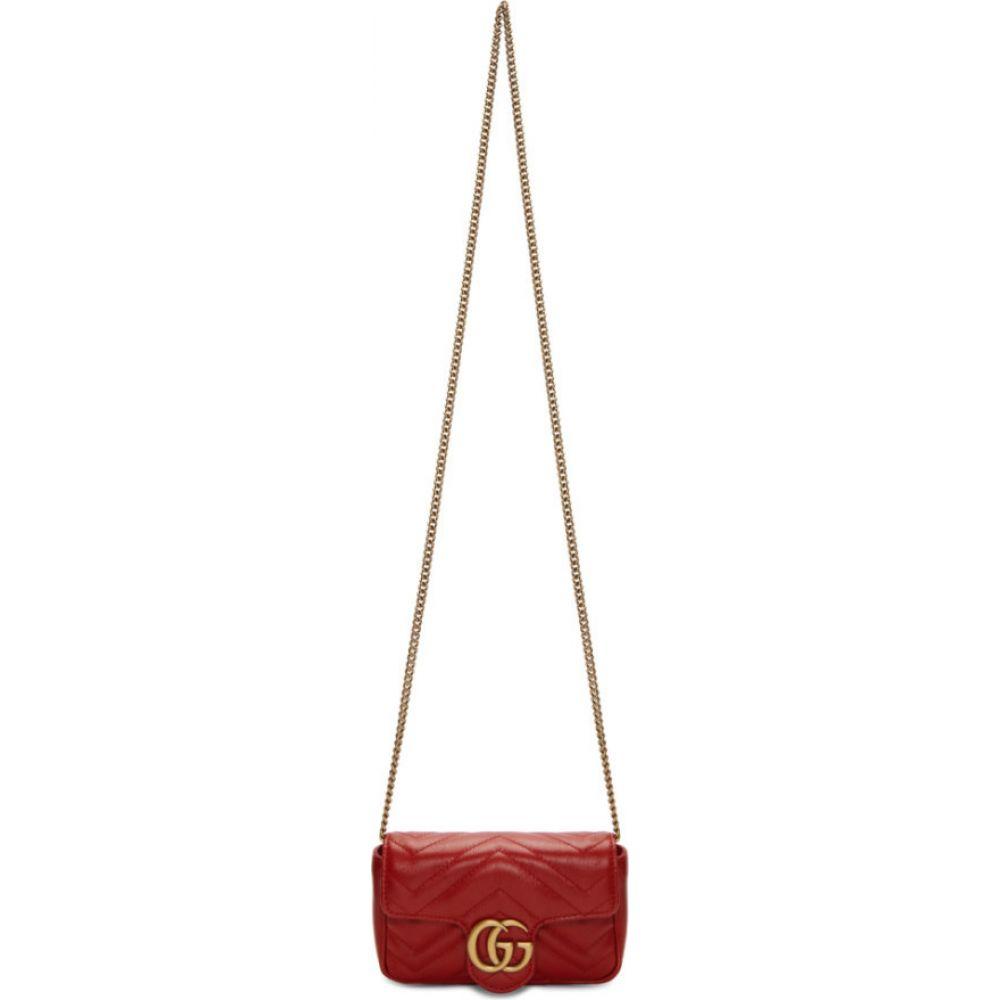 グッチ Gucci レディース ショルダーバッグ バッグ【red super mini gg marmont bag】Hibiscus red