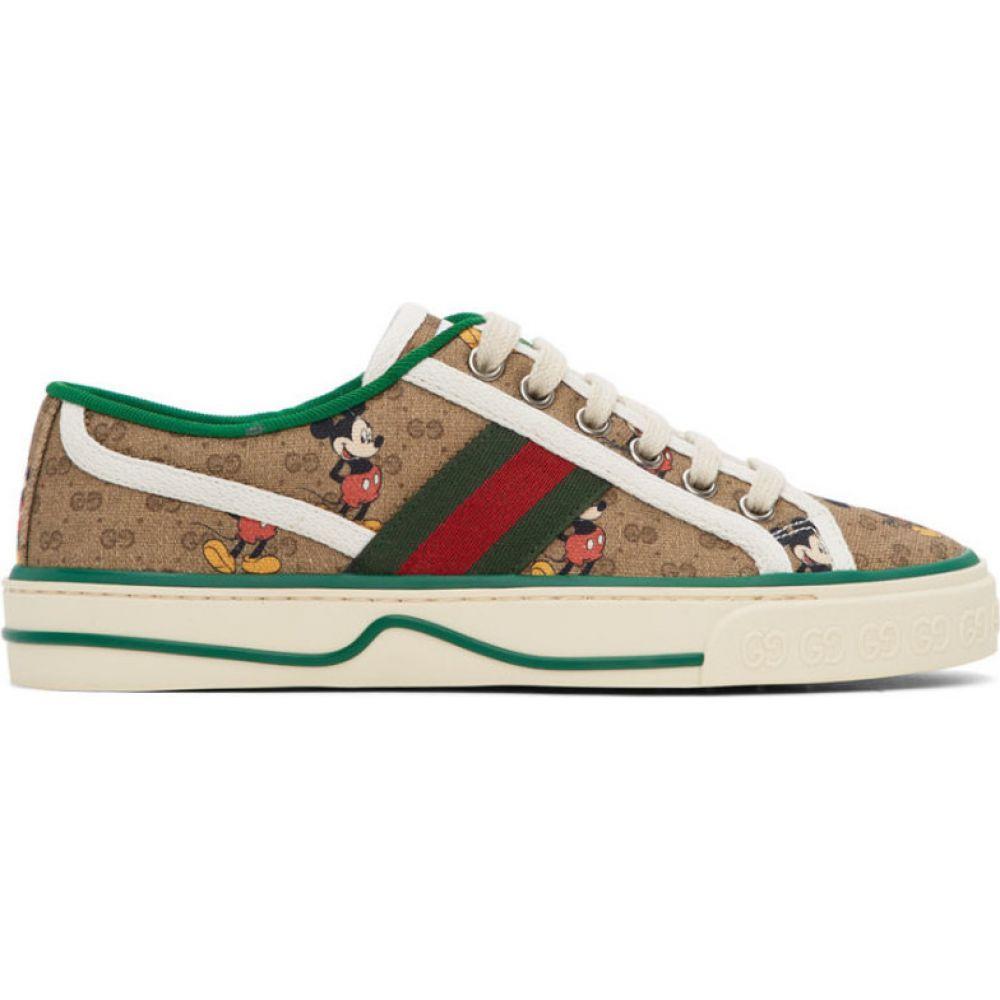 グッチ Gucci レディース テニス スニーカー シューズ・靴【brown disney edition gg 'tennis 1977' sneakers】Ivory/Ebony