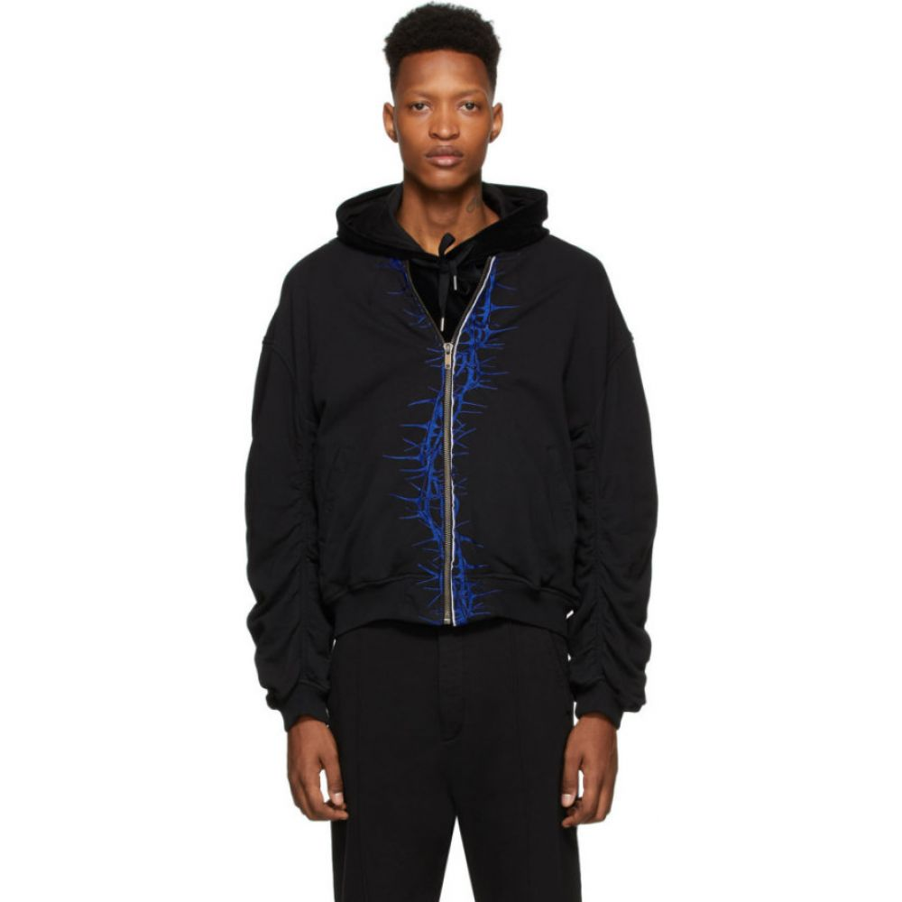 ハイダー アッカーマン Haider Ackermann メンズ ブルゾン ミリタリージャケット アウター【ssense exclusive black & blue embroidered bomber jacket】Black dye/Electric blue