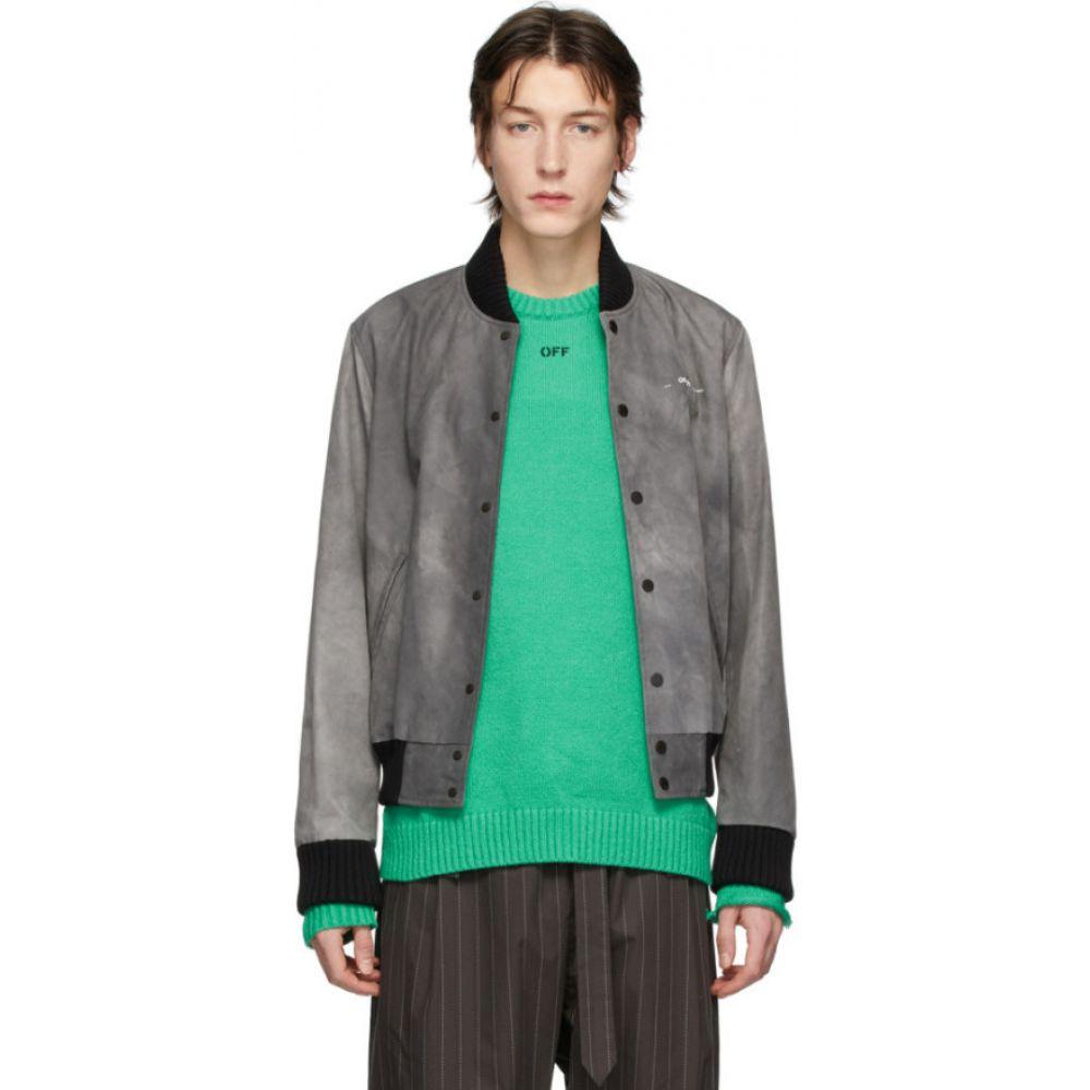 オフホワイト Off-White メンズ ブルゾン アウター【grey airport tape varsity jacket】Black/Multicolor