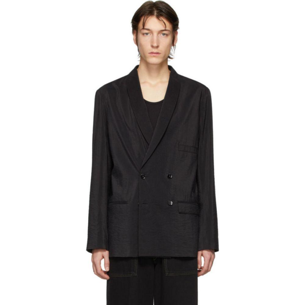 ルメール Lemaire メンズ スーツ・ジャケット アウター【black dry silk double-breasted blazer】Black