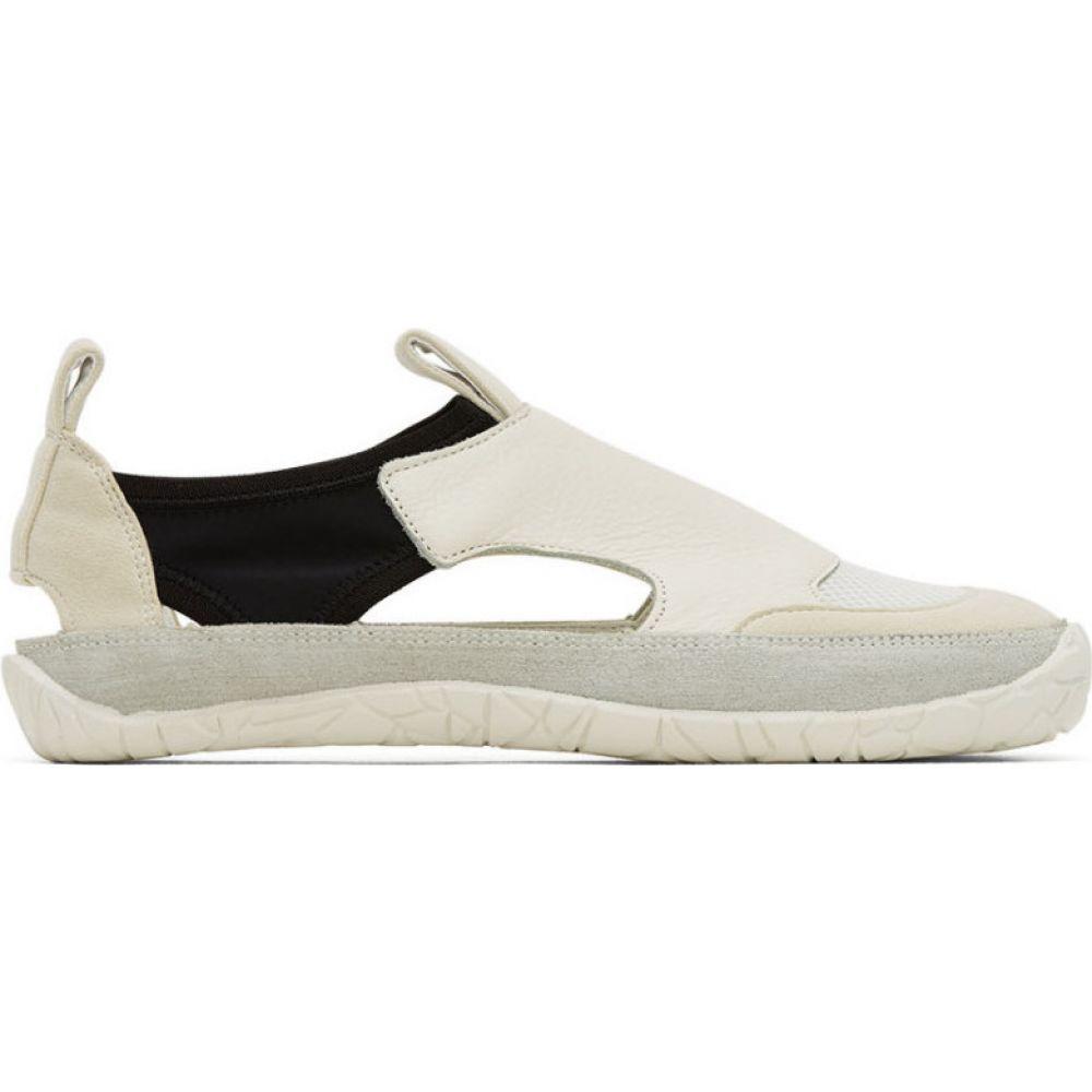 イッセイ ミヤケ Issey Miyake Men メンズ スリッポン・フラット シューズ・靴【off-white & black vulcanized gurkha slip-on sneakers】White