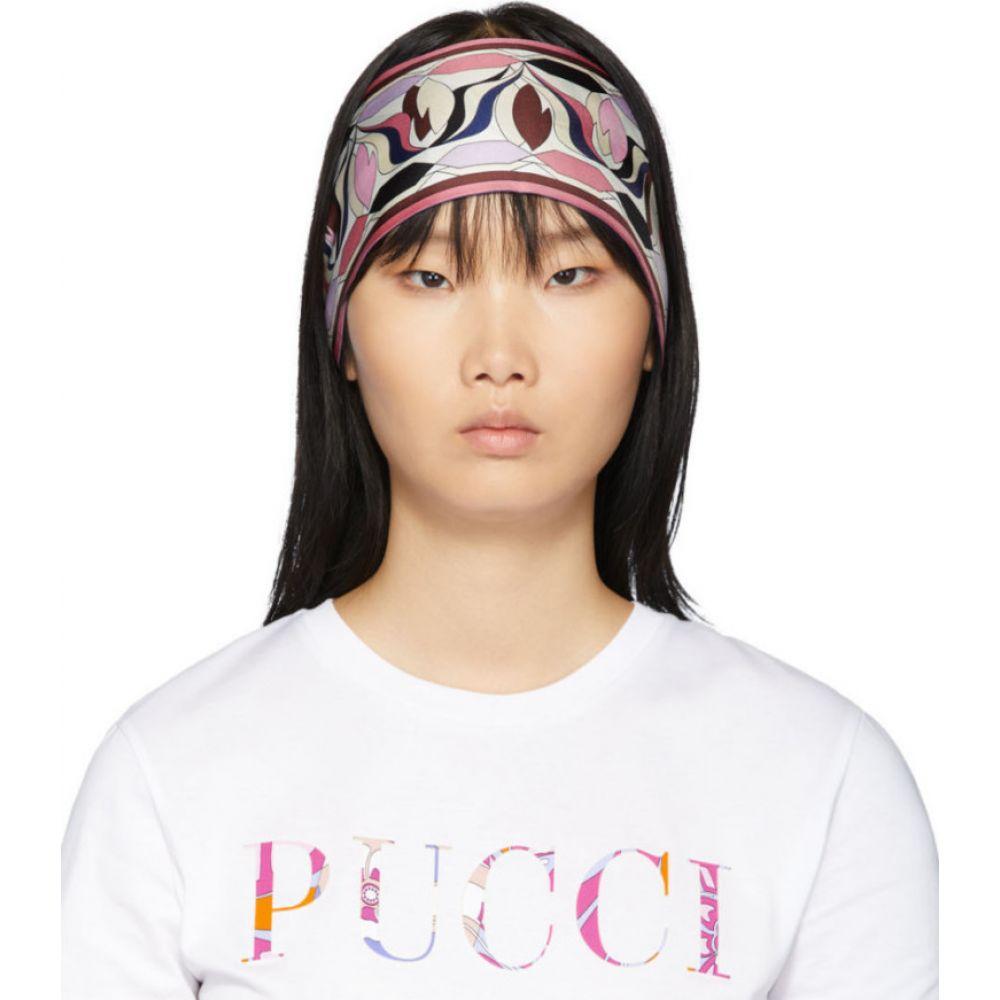 エミリオ プッチ Emilio Pucci レディース ヘアアクセサリー ヘッドバンド【multicolor silk printed long scarf headband】Navy
