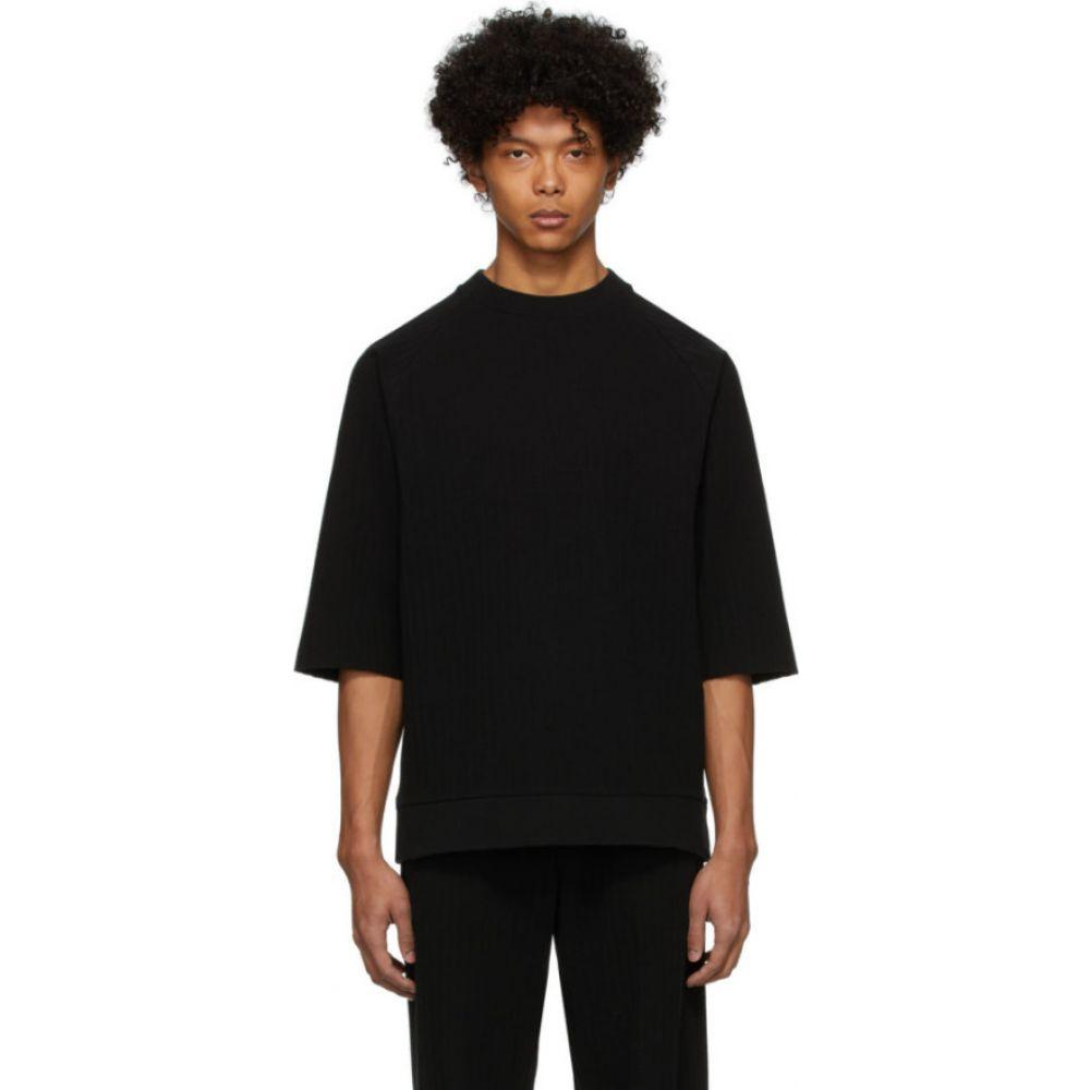 ブルーブルージャパン Blue Blue Japan メンズ Tシャツ ラグラン トップス【black pleated raglan wide t-shirt】Black