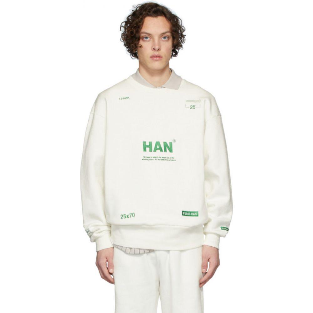 ハン コペンハーゲン Han Kjobenhavn メンズ スウェット・トレーナー トップス【off-white bulky crew sweatshirt】Off-White/Green