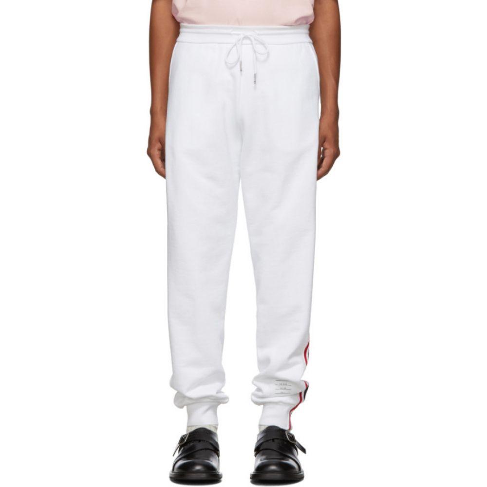 トム ブラウン Thom Browne メンズ スウェット・ジャージ ボトムス・パンツ【white classic rwb stripe lounge pants】White
