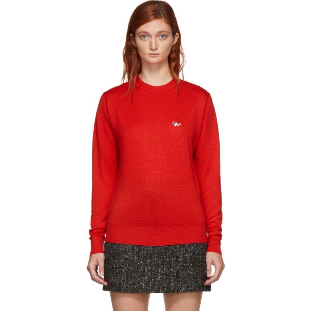 メゾン キツネ Maison Kitsune レディース ニット・セーター トップス【red virgin wool r-neck pullover sweater】Red