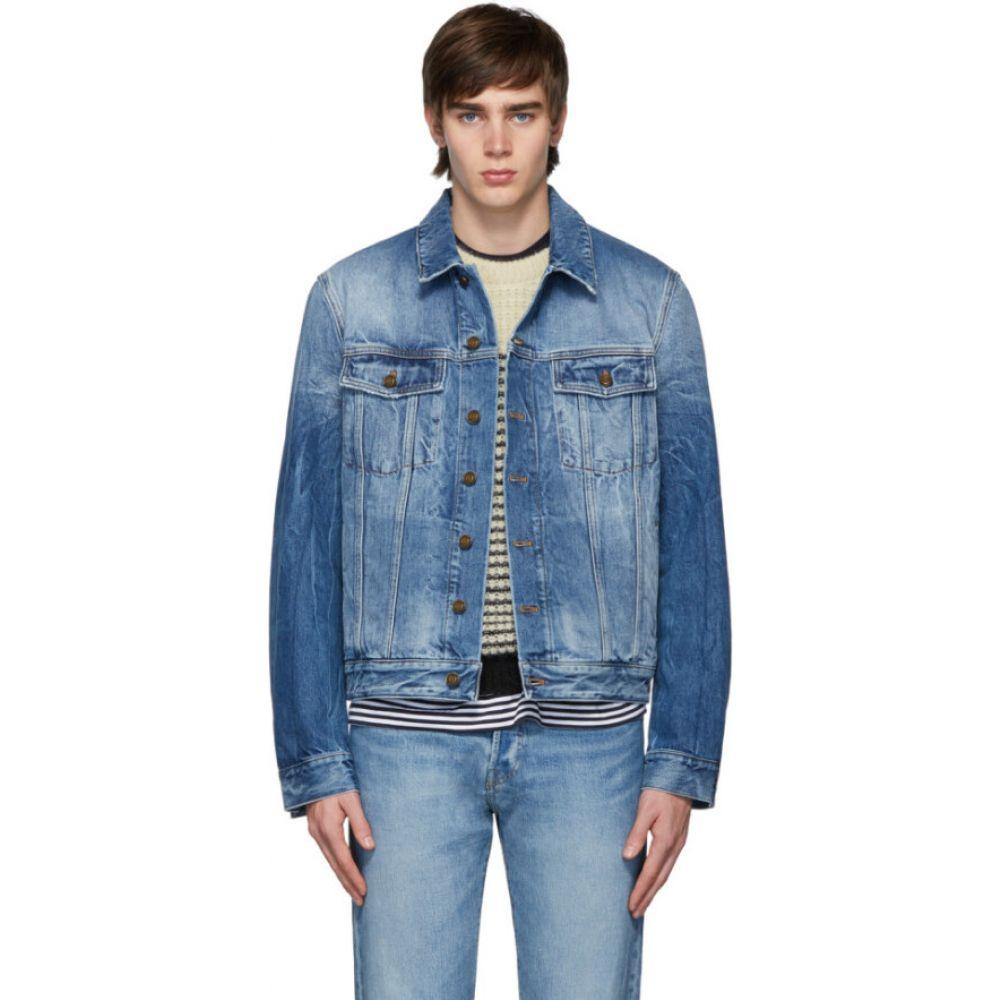 イヴ サンローラン Saint Laurent メンズ ジャケット Gジャン アウター【blue denim shadow classic jacket】Dark blue