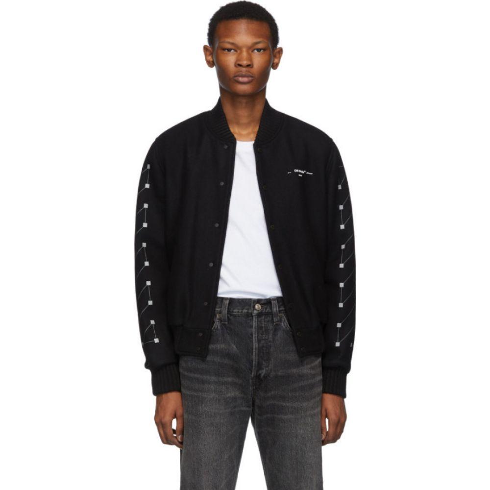 オフホワイト Off-White メンズ ブルゾン ミリタリージャケット アウター【black embroidered skinny varsity bomber jacket】Black/Silver