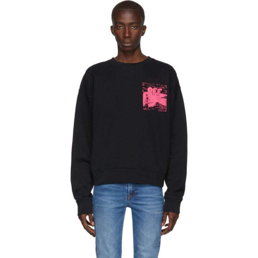 オフホワイト Off-White メンズ スウェット・トレーナー トップス【black & pink oversized skulls floating sweatshirt】Black/Fuchsia