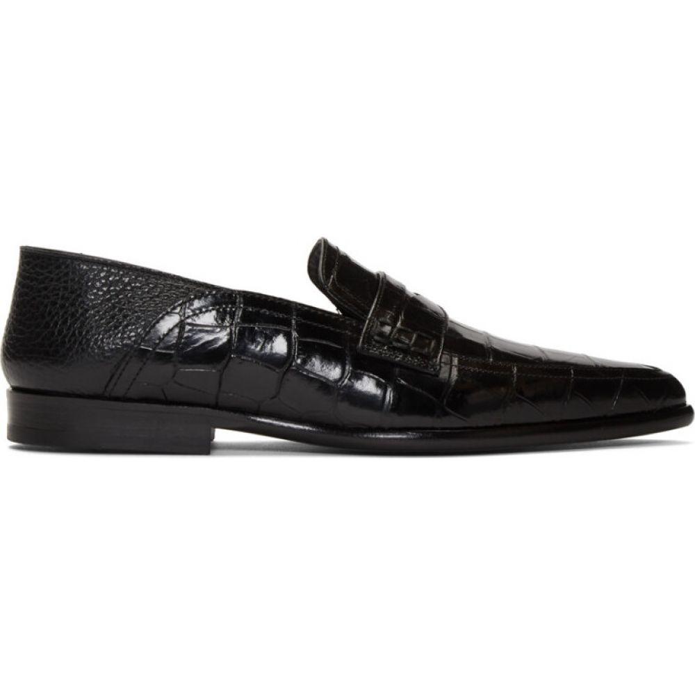 ロエベ Loewe レディース ローファー・オックスフォード シューズ・靴【black croc pointy slip-on loafers】Black
