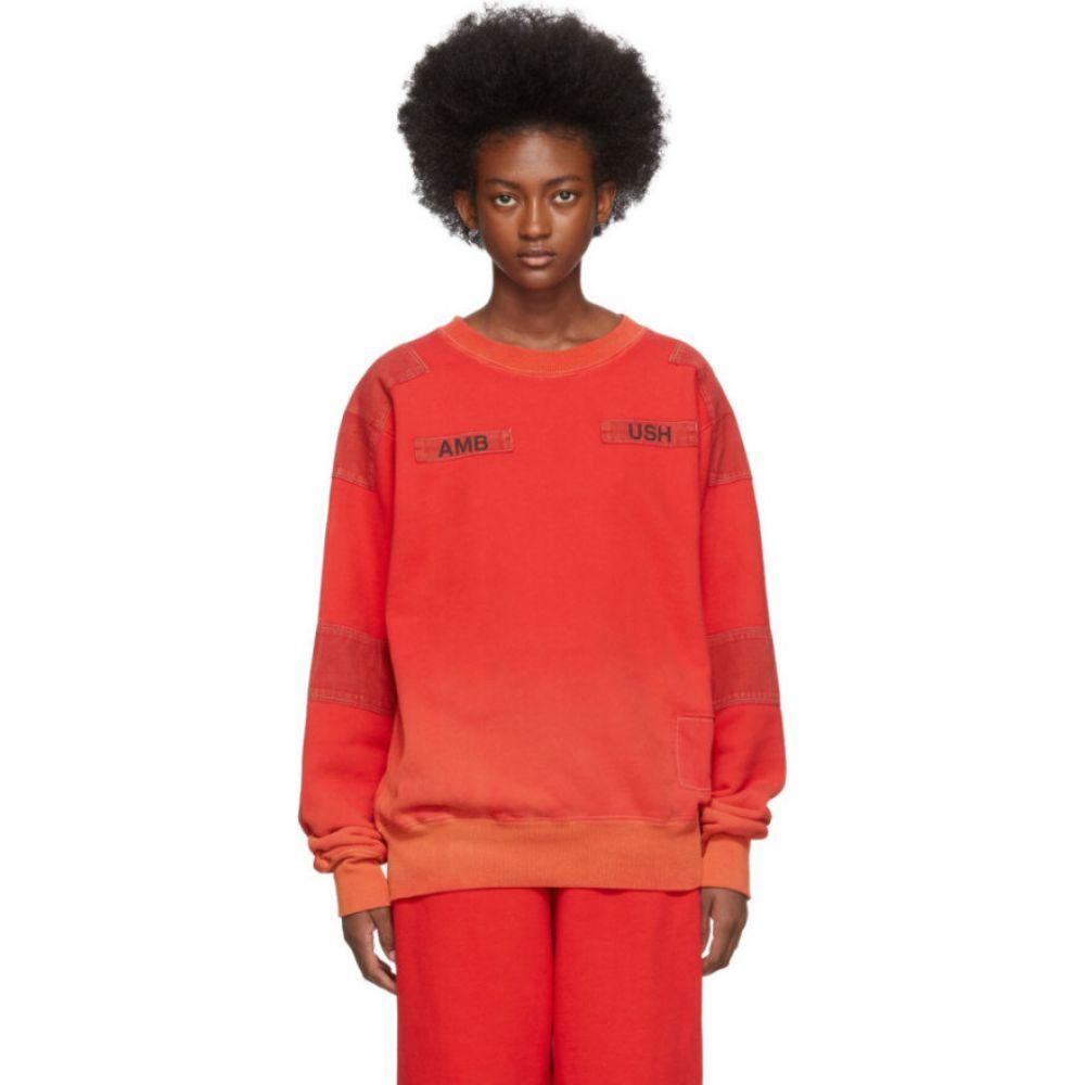 アンブッシュ Ambush レディース スウェット・トレーナー トップス【red bleach patchwork sweatshirt】Orange