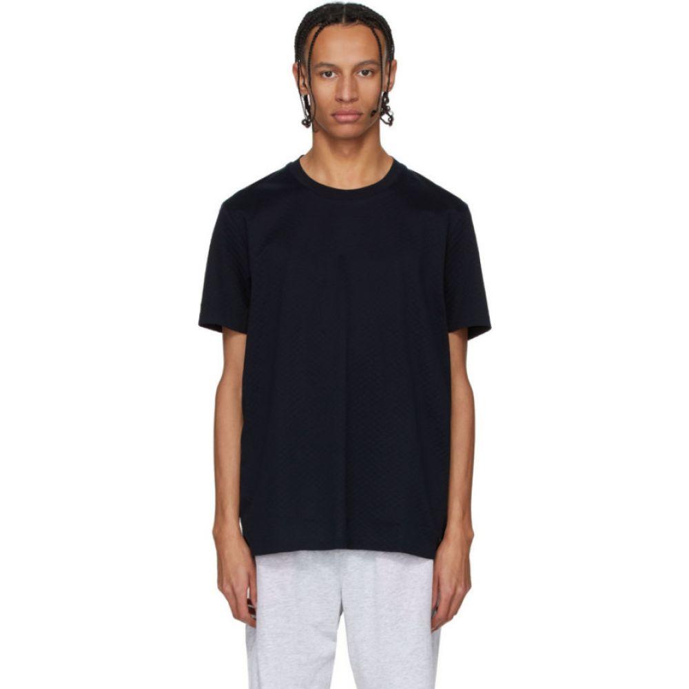 ヒューゴ ボス Boss メンズ Tシャツ トップス【navy fine waffle knit t-shirt】Dark blue