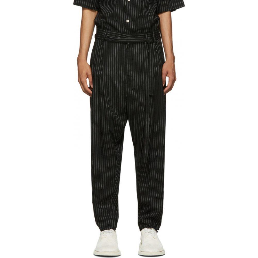 ベッドフォード BED J.W. FORD メンズ ボトムス・パンツ 【black two tuck striped trousers】Black