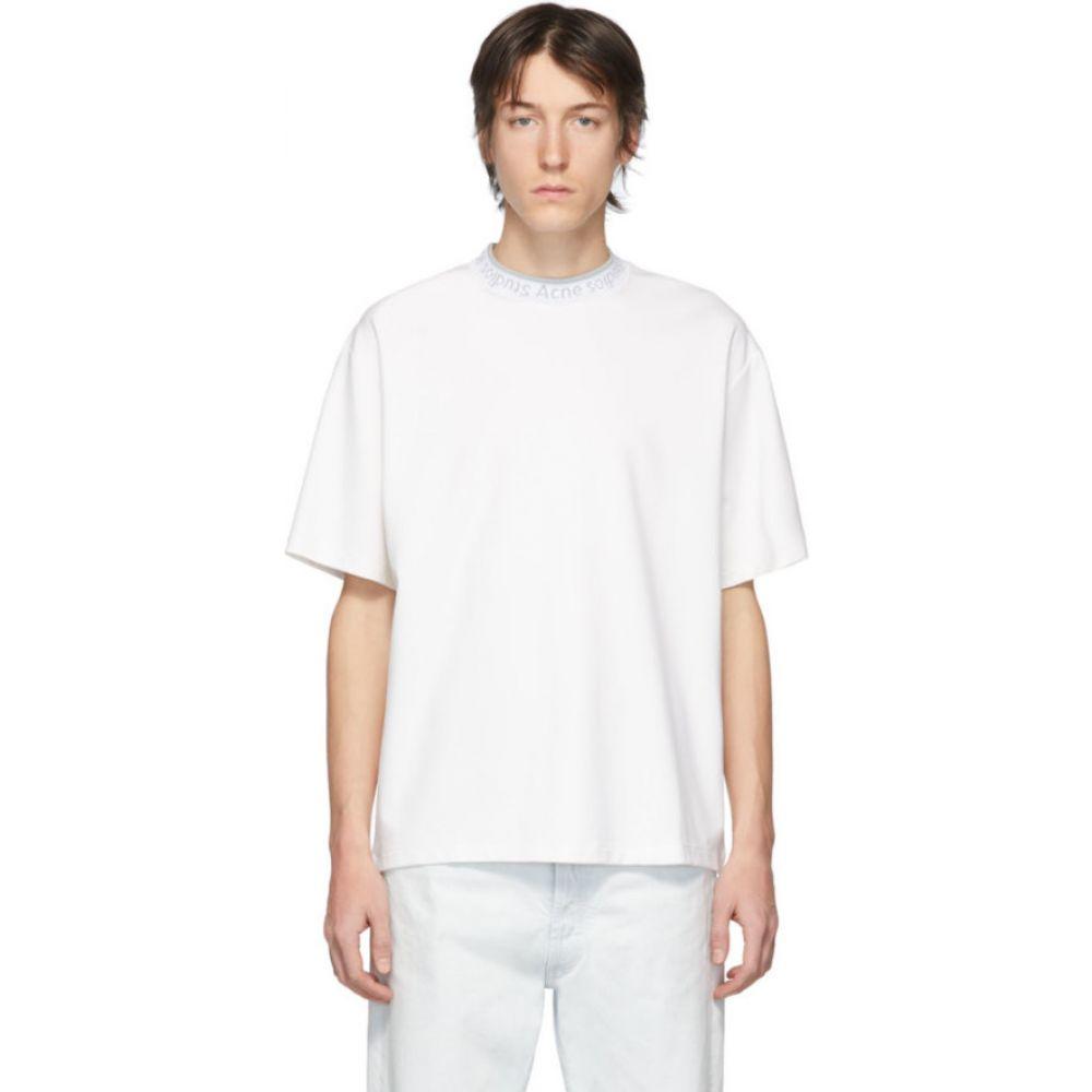 アクネ ストゥディオズ Acne Studios メンズ Tシャツ トップス【white logo neck t-shirt】Optic white