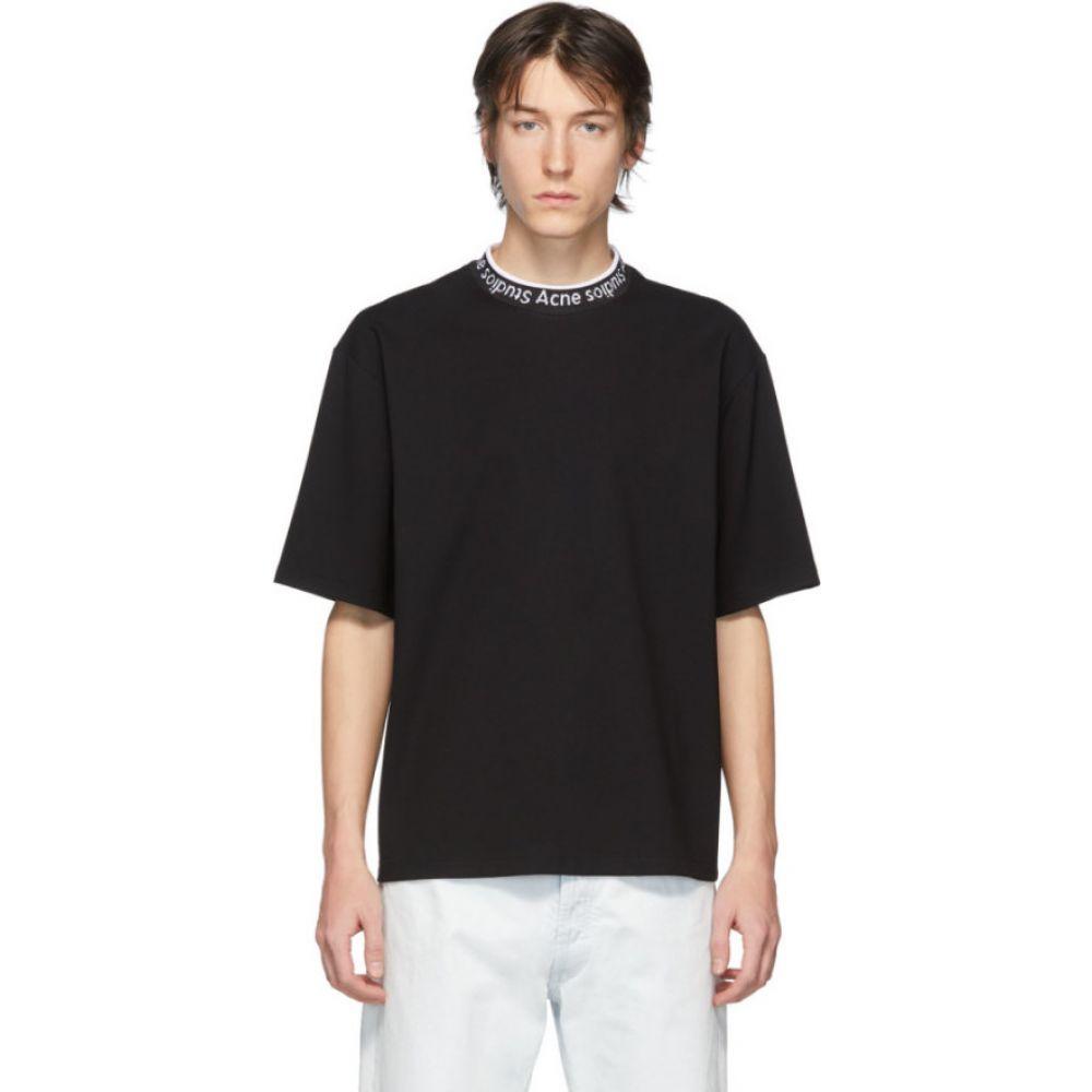 アクネ ストゥディオズ Acne Studios メンズ Tシャツ トップス【black logo neck t-shirt】Black