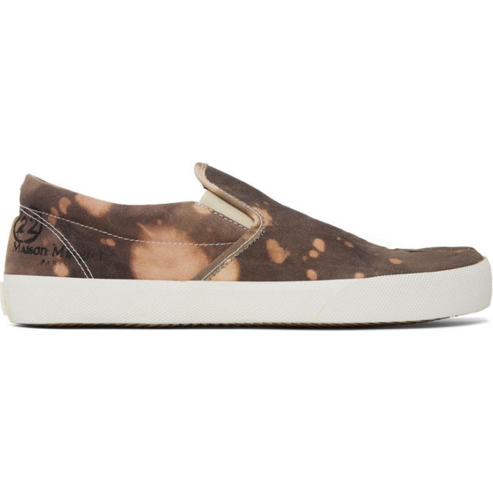 メゾン マルジェラ Maison Margiela メンズ スリッポン・フラット シューズ・靴【brown tie-dye slip-on tabi sneakers】Brown