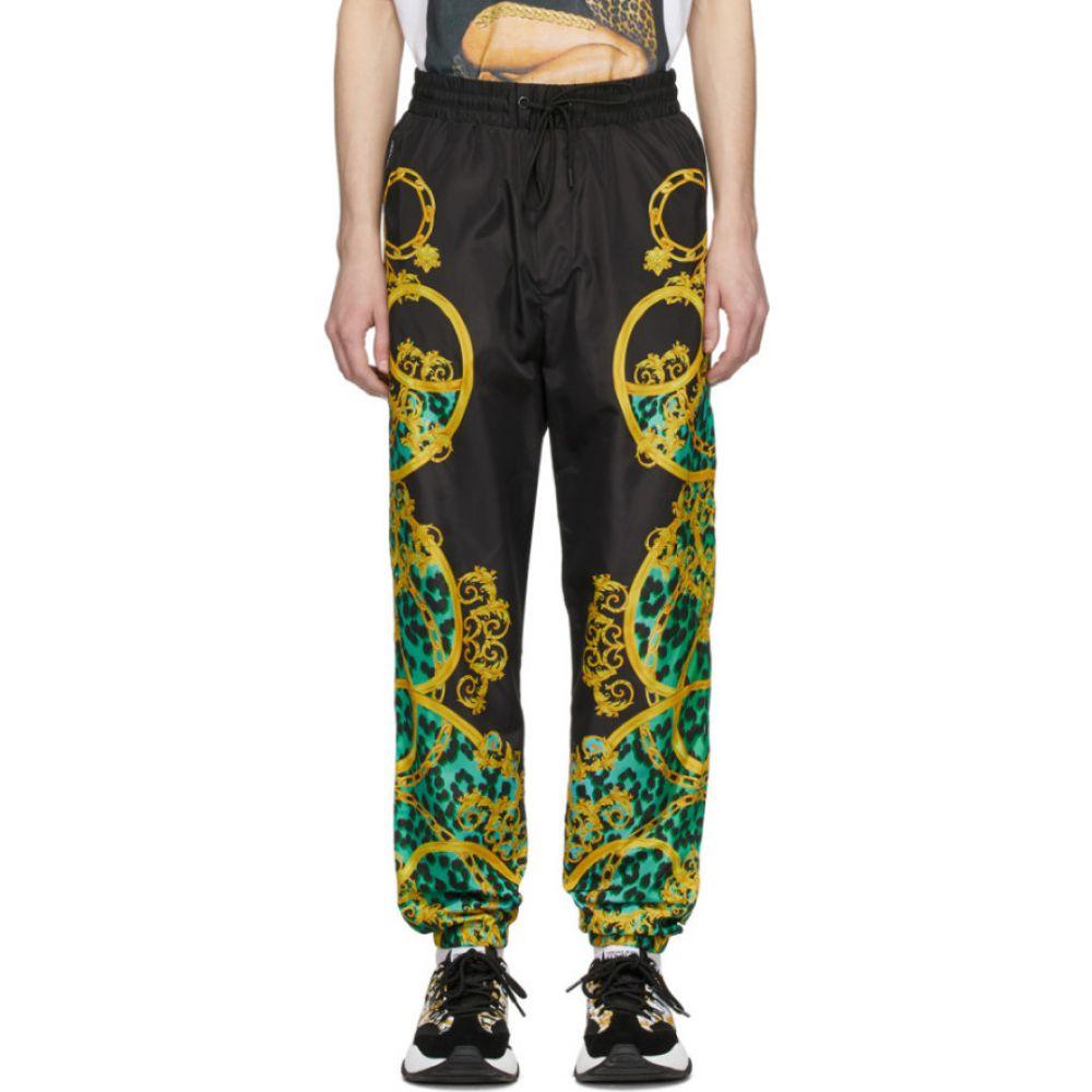 ヴェルサーチ Versace Jeans Couture メンズ スウェット・ジャージ ボトムス・パンツ【black & green leo chain track pants】Pure mint
