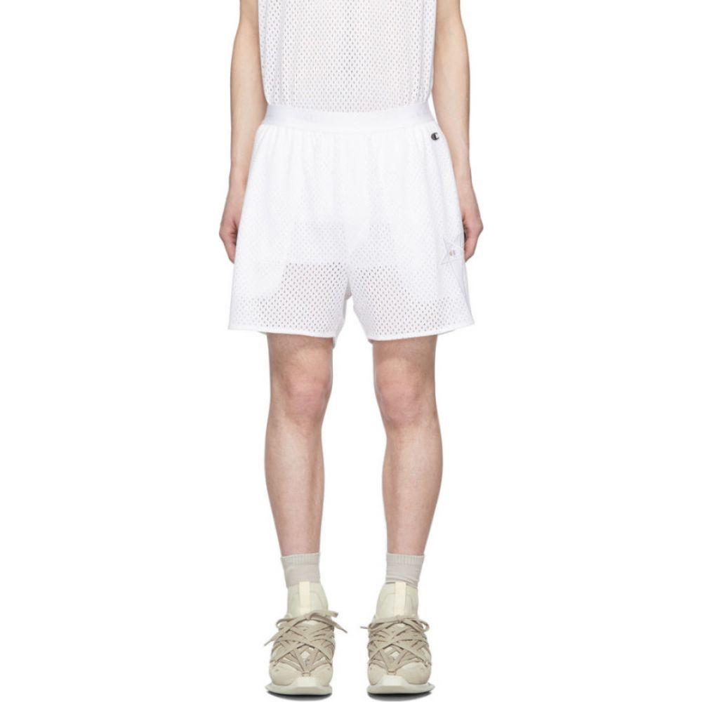 リック オウエンス Rick Owens メンズ バスケットボール ショートパンツ ボトムス・パンツ【white champion edition mesh basketball shorts】Milk
