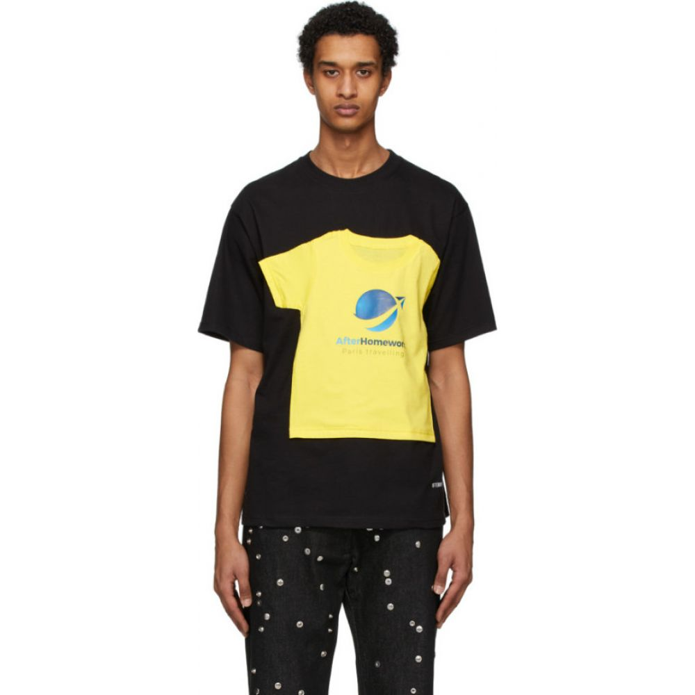 アフターホームワーク Afterhomework メンズ Tシャツ トップス【black t-shirt on a t-shirt】Black