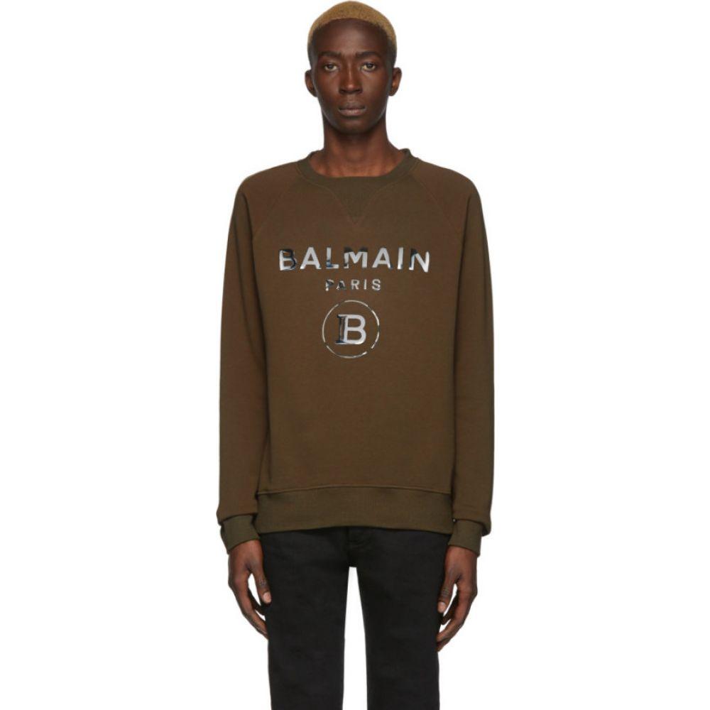 バルマン Balmain メンズ スウェット・トレーナー トップス【khaki logo mirror sweatshirt】Khaki