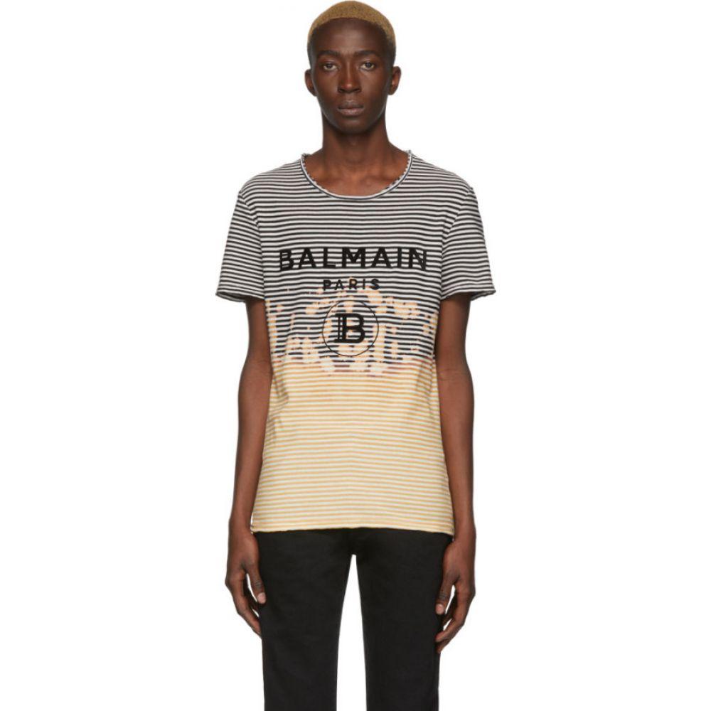 バルマン Balmain メンズ Tシャツ トップス【black & yellow striped tie-dye t-shirt】Black