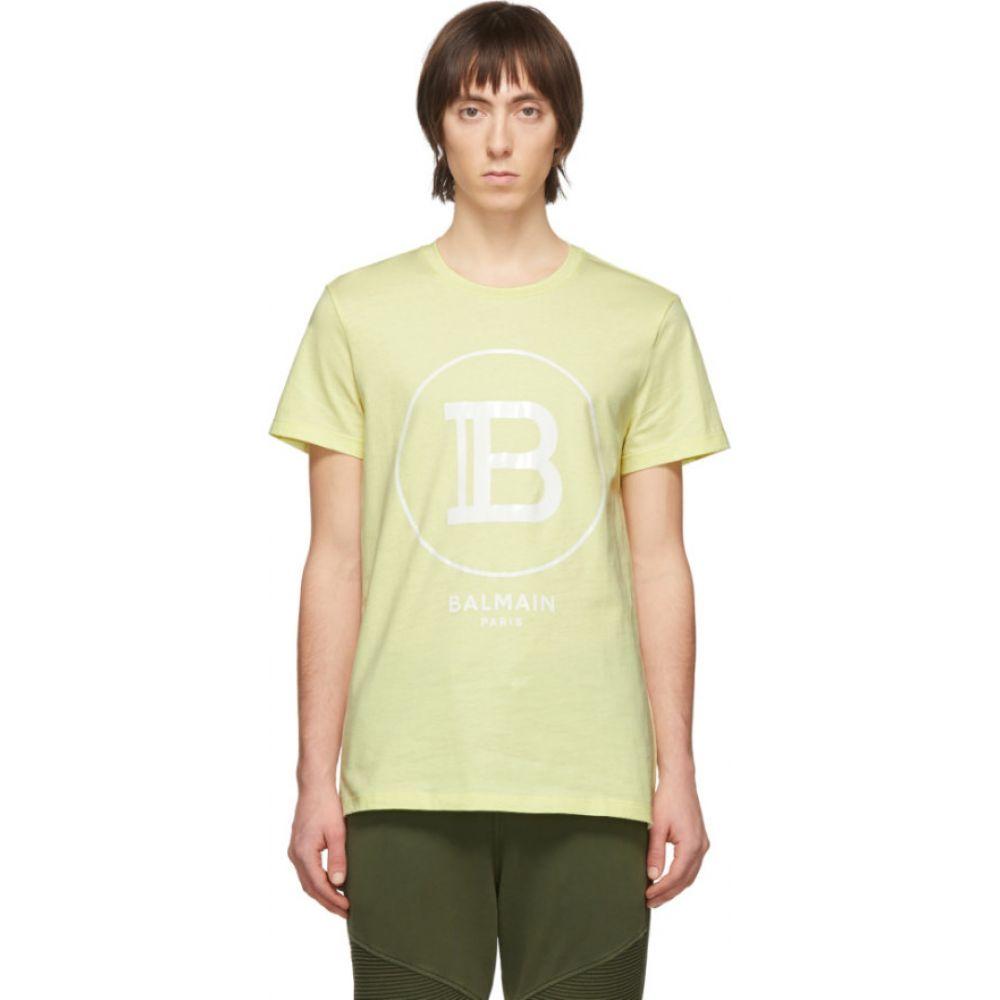 バルマン Balmain メンズ Tシャツ トップス【yellow logo t-shirt】Jaune/Blanc