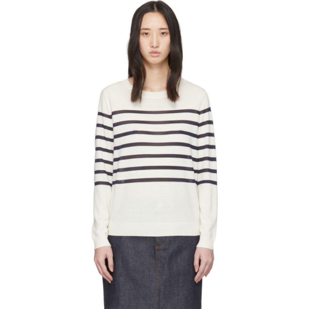 アーペーセー A.P.C. レディース ニット・セーター トップス【white wool striped cordelia sweater】Ecru