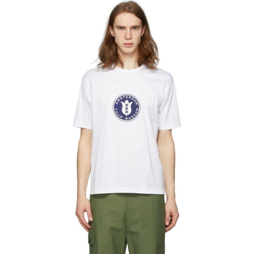 ジュンヤ ワタナベ Junya Watanabe メンズ Tシャツ トップス【white 'tulip museum' t-shirt】White/Navy