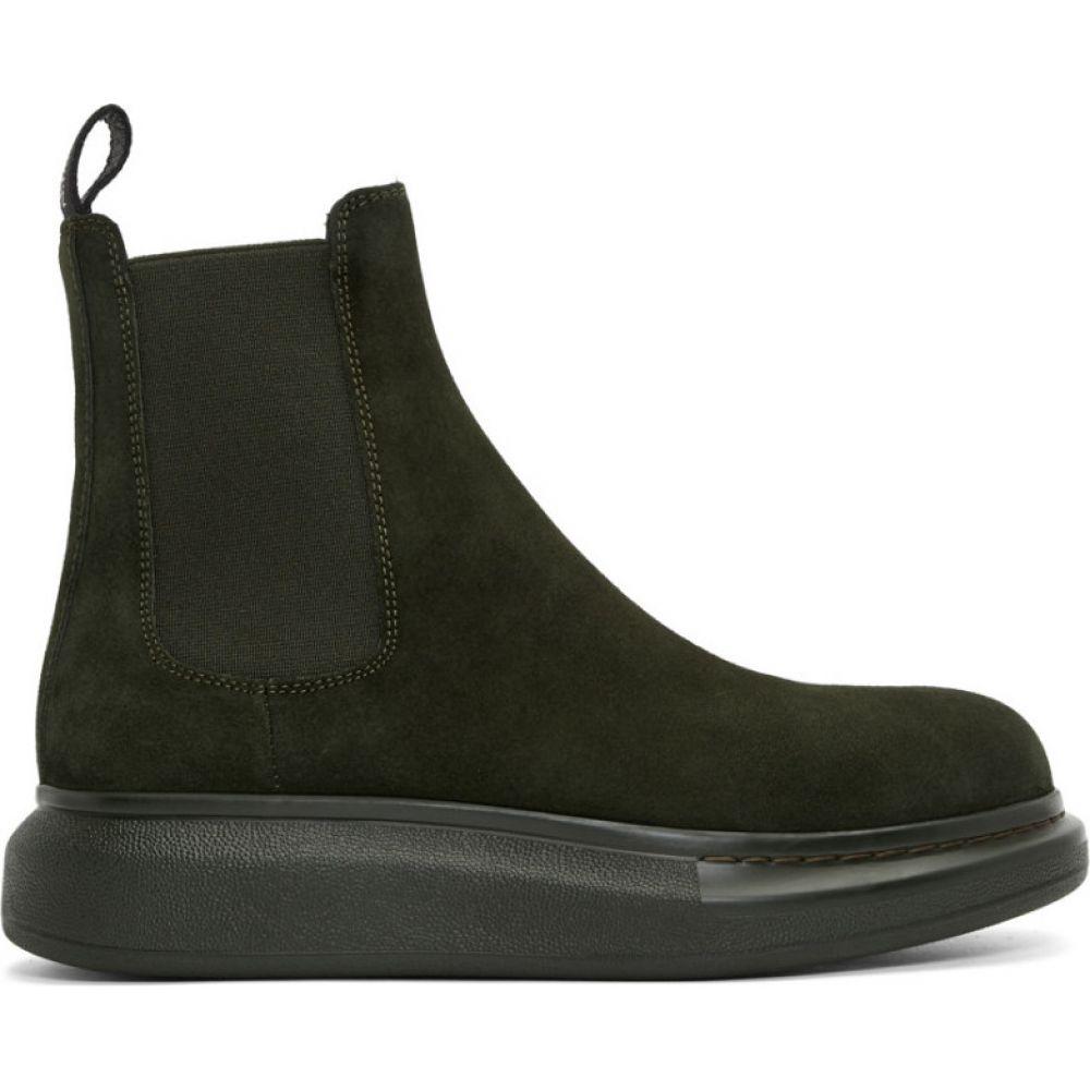 アレキサンダー マックイーン Alexander McQueen メンズ ブーツ チェルシーブーツ シューズ・靴【green suede chelsea boots】Dark khaki