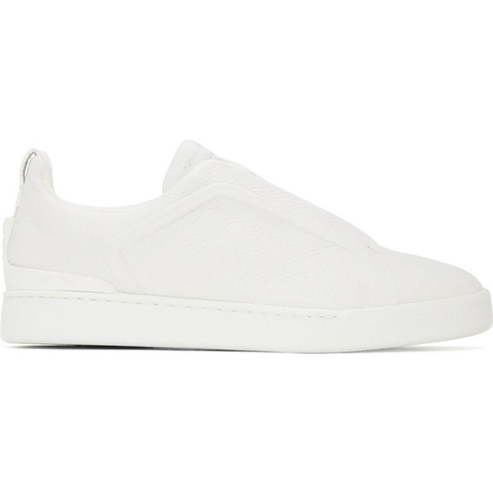 エルメネジルド ゼニア Ermenegildo Zegna メンズ スニーカー シューズ・靴【white triple stitch sneakers】White
