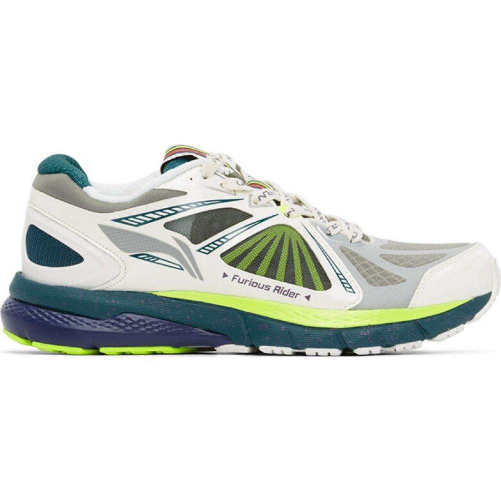 リーニン Li-Ning メンズ スニーカー シューズ・靴【white & green furious rider ace 3 sneakers】White/Green