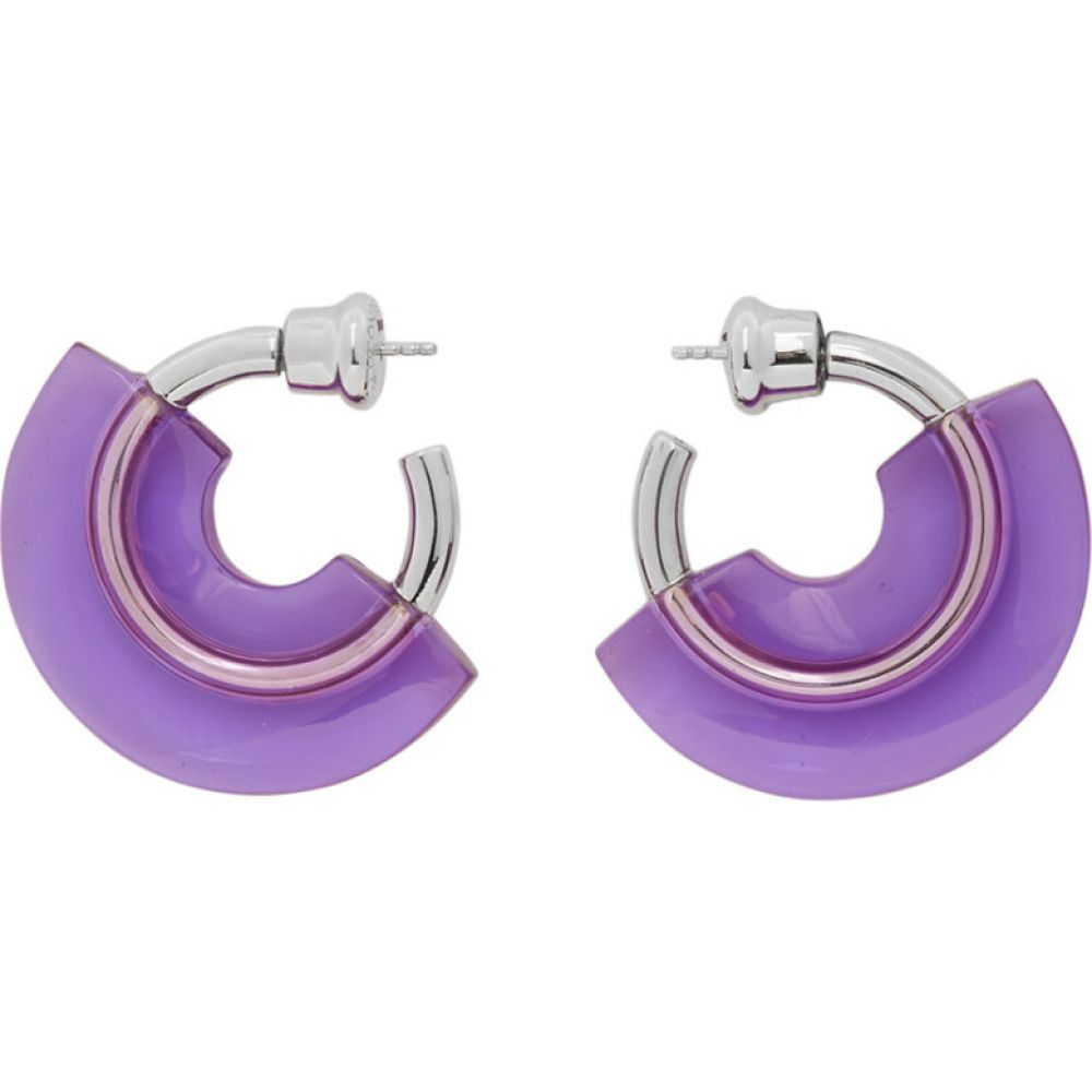 Panconesi レディース イヤリング・ピアス ジュエリー・アクセサリー【silver & purple mini resin hoop earrings】Lilac