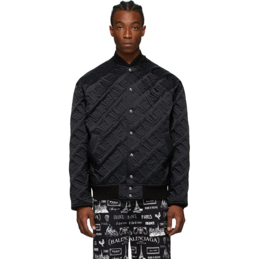 バレンシアガ Balenciaga メンズ ブルゾン ミリタリージャケット アウター【black embroidered logo bomber jacket】Black