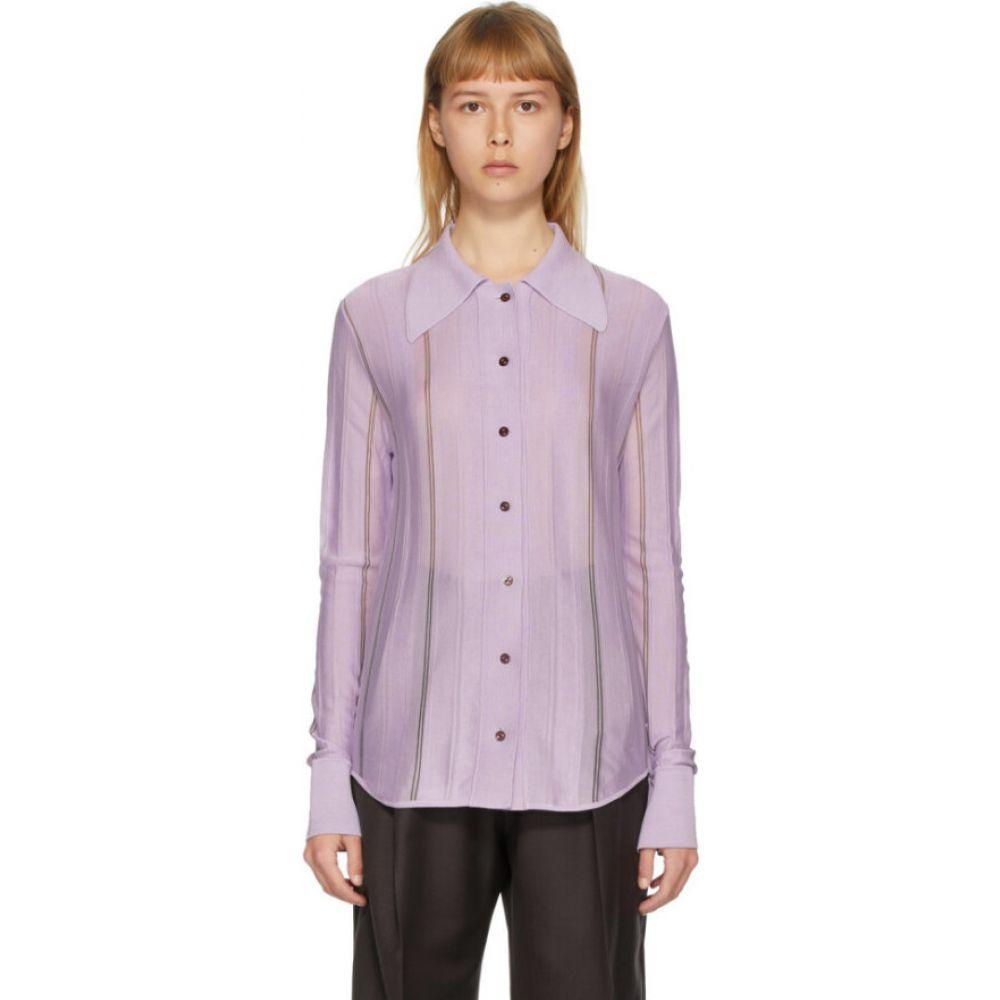 エフティシア Eftychia レディース ブラウス・シャツ トップス【purple silk striped shirt】Lilac/Grey