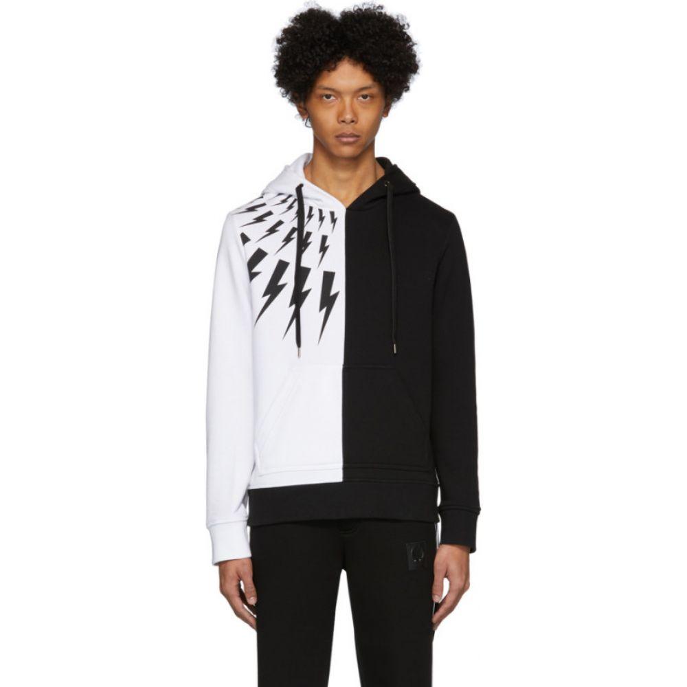 ニール バレット Neil Barrett メンズ パーカー トップス【black & white thunderbolt hoodie】Black/White