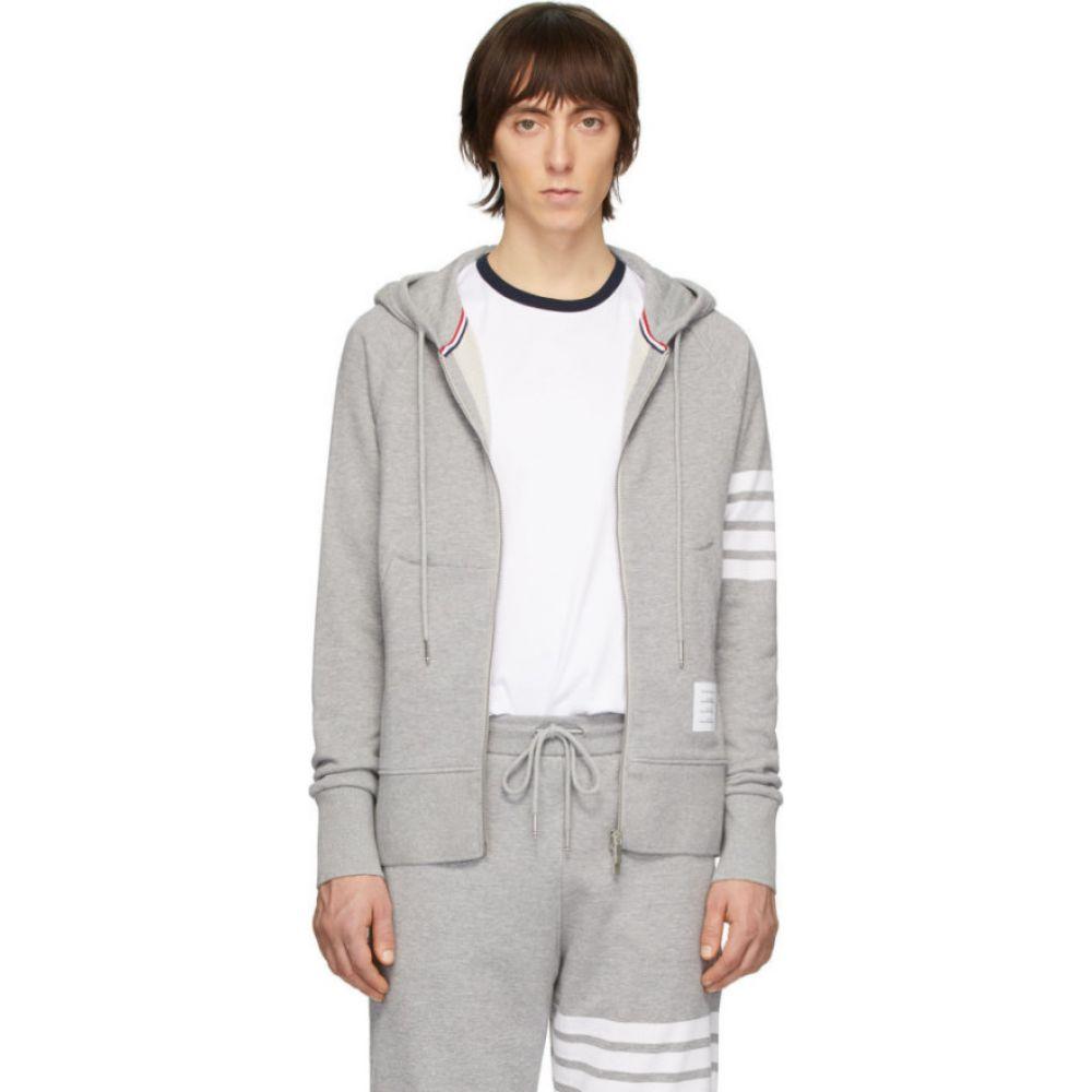 トム ブラウン Thom Browne メンズ パーカー トップス【grey engineered 4-bar classic zip hoodie】Light grey