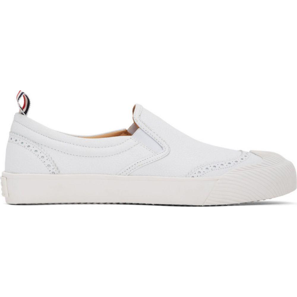 トム ブラウン Thom Browne メンズ スリッポン・フラット シューズ・靴【white vulcanized brogued slip-on sneakers】White