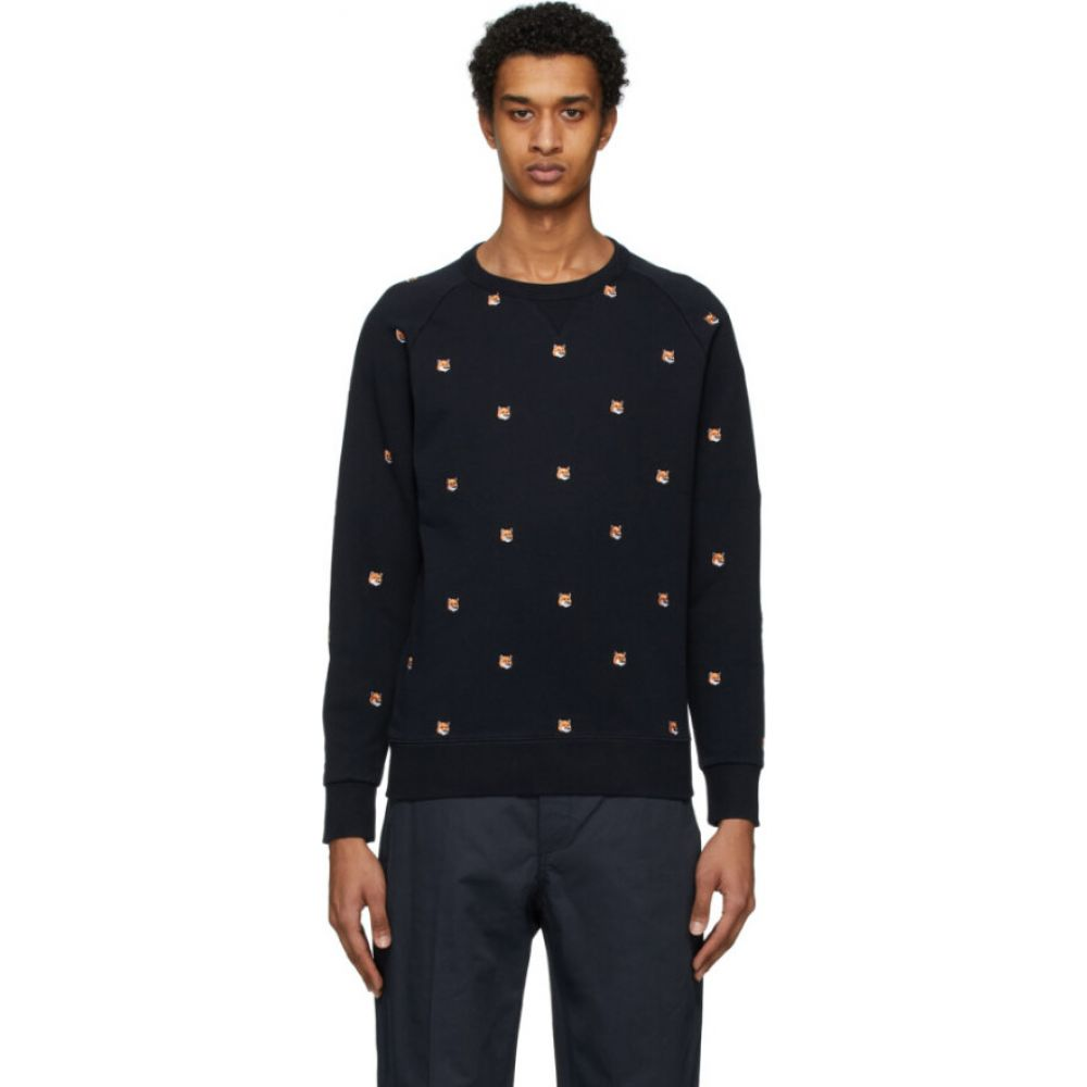 メゾン キツネ Maison Kitsune メンズ スウェット・トレーナー トップス【navy all over fox head patch sweatshirt】Navy