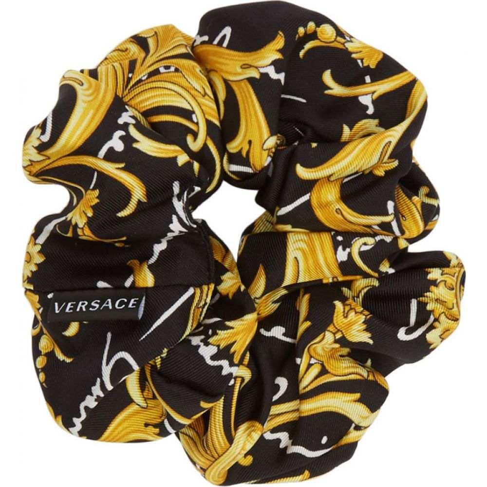 ヴェルサーチ Versace レディース ヘアアクセサリー シュシュ【black barocco signature scrunchie】Black