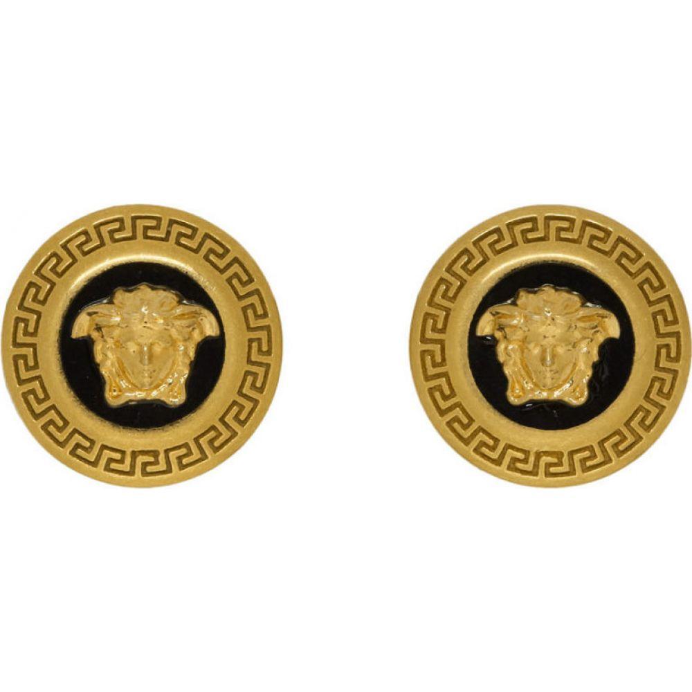 ヴェルサーチ Versace レディース イヤリング・ピアス メデューサ ジュエリー・アクセサリー【black & gold small medusa coin earrings】Black