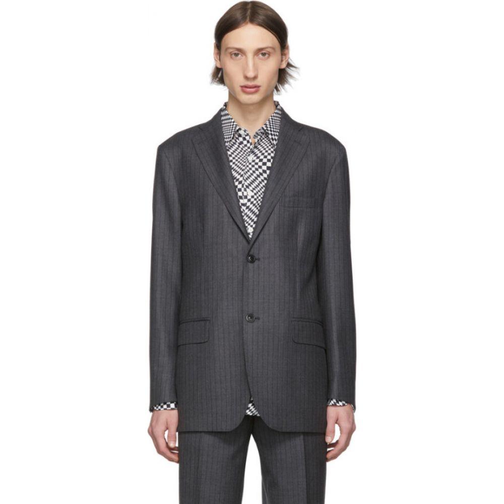 コブラ S.C. Cobra S.C. メンズ スーツ・ジャケット アウター【grey pinstripe notched lapel blazer】Charcoal pinstripe