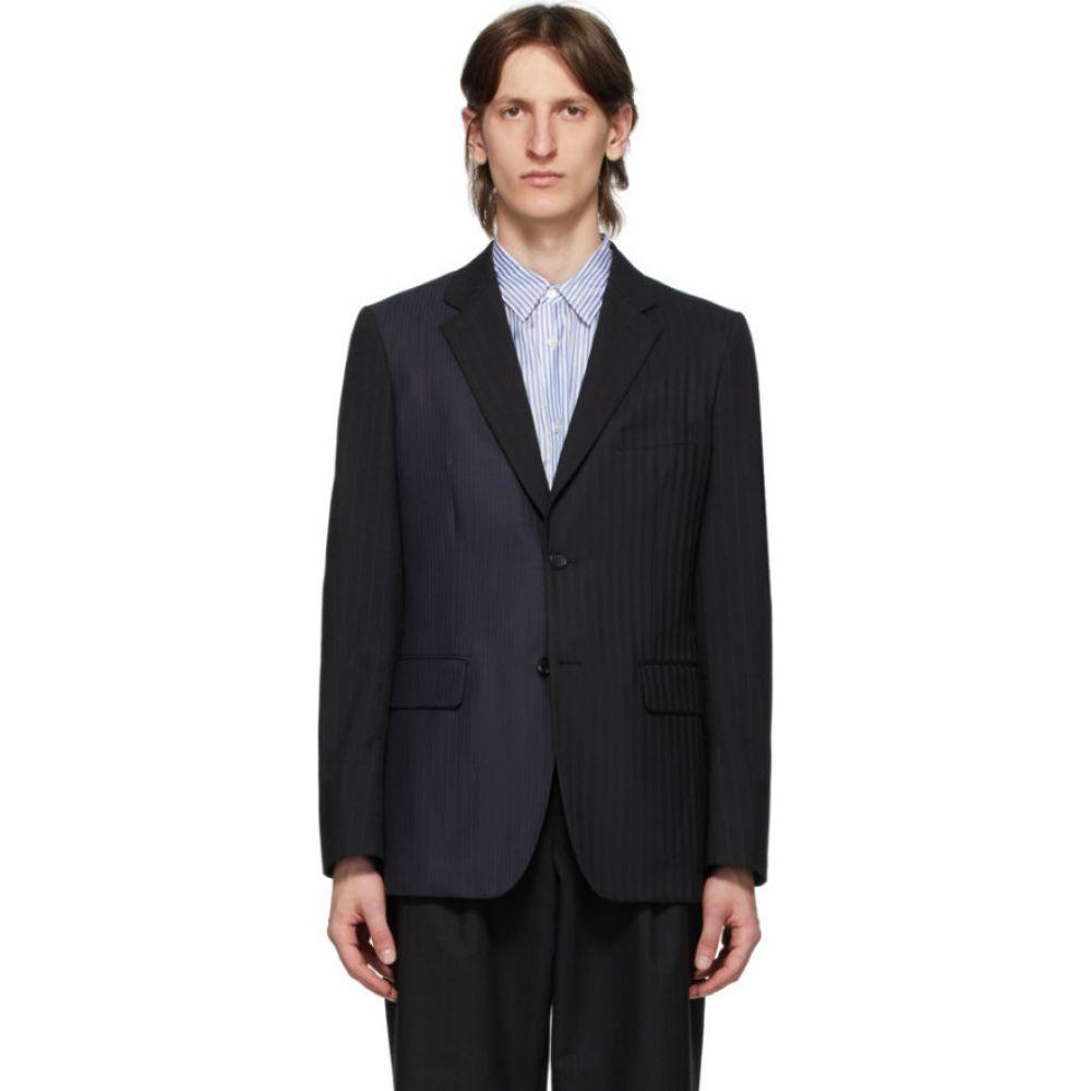 コム デ ギャルソン Comme des Garcons Homme Deux メンズ スーツ・ジャケット アウター【black herringbone stripe blazer】Black