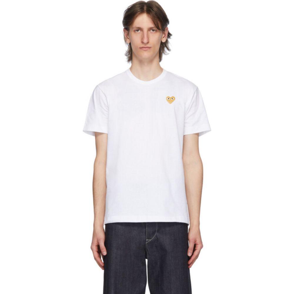 コム デ ギャルソン Comme des Garcons Play メンズ Tシャツ トップス【white & gold heart patch t-shirt】White