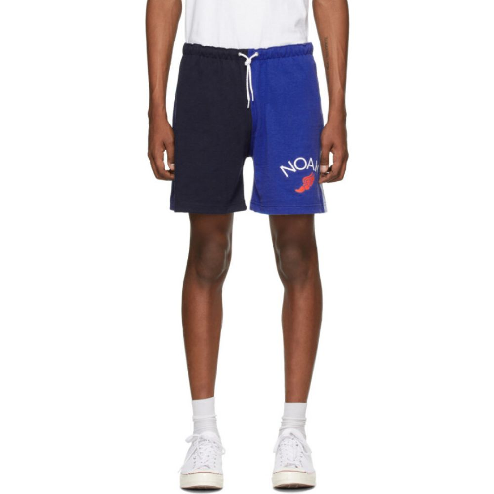 ノア Noah NYC メンズ ショートパンツ ボトムス・パンツ【blue colorblocked jersey shorts】Navy/Royal blue/Powder blue/Deep ocean